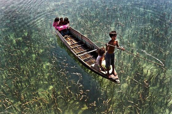 лодка с детьми по прозрачной воде
