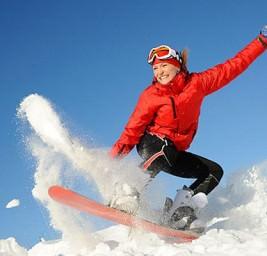 девушка на сноуборде